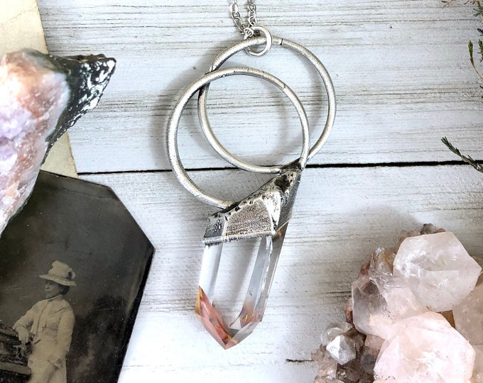 Large Amphibole Quartz Necklace / Big Raw Crystal Necklace in Silver