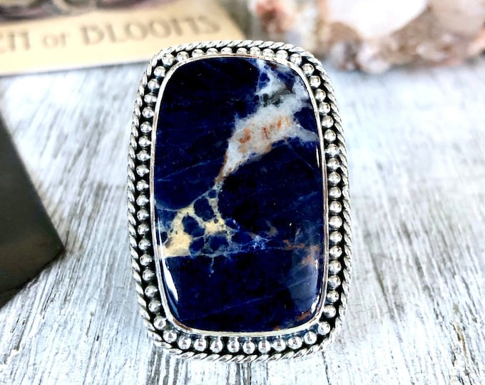 Size 6 Sodalite Statement Ring Set in Sterling Silver / Curated by FOXLARK Collection