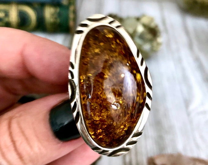 Stunning Large Baltic Amber Statement Ring Set in Sterling Silver Size / Curated by FOXLARK Collection