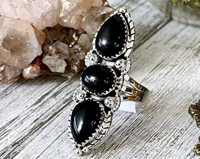 Three Stone Black Onyx Ring in Solid Sterling Silver- Designed by FOXLARK Collection Size 6 7 8 9 10