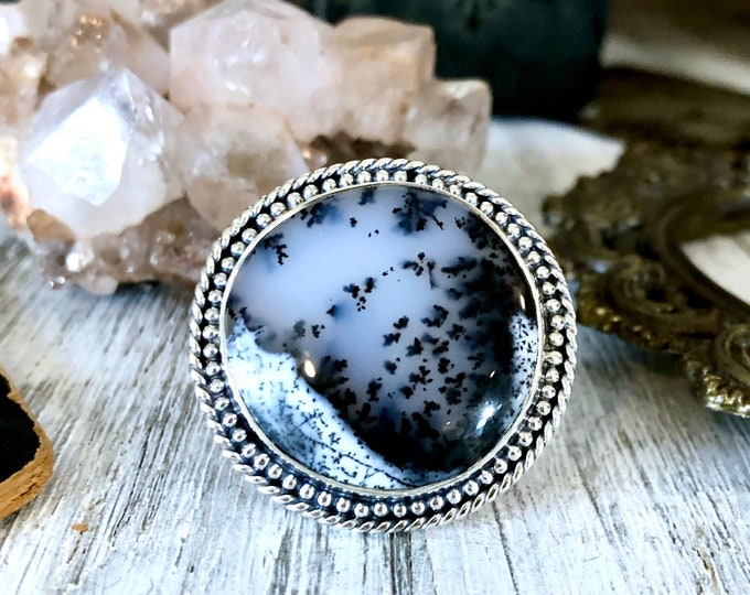 Size 7.5 Dendritic Opal Statement Ring Set in Sterling Silver / Curated by FOXLARK Collection