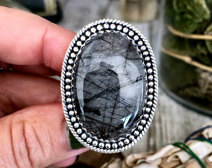 Size 7 Black Tourmaline Quartz Ring Set in Sterling Silver / Curated by FOXLARK collection