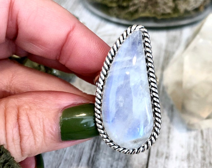 Size 10 Rainbow Moonstone Ring Set in Sterling Silver- Curated by FOXLARK Collection