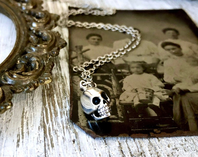 Tiny Taliman Collection - Sterling Silver Skull Necklace Charm 12x7mm / Curated  Collection