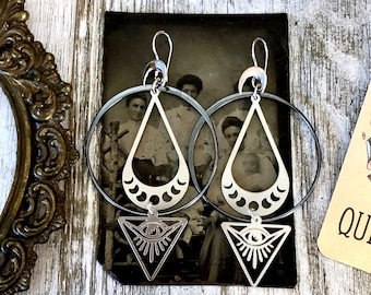 Moon Phase Earrings With All Seeing Eye in Sterling Silver & Stainless Steel  - Long Dangly Geometric Earrings with Blackened Silver Hoops