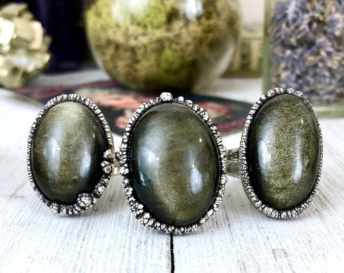 Golden Sheen Obsidian Ring in Fine Silver Size 7 8 / Big Crystal Ring / Large Silver Crystal Ring / Bohemian Jewelry / Silver Stone Jewelry
