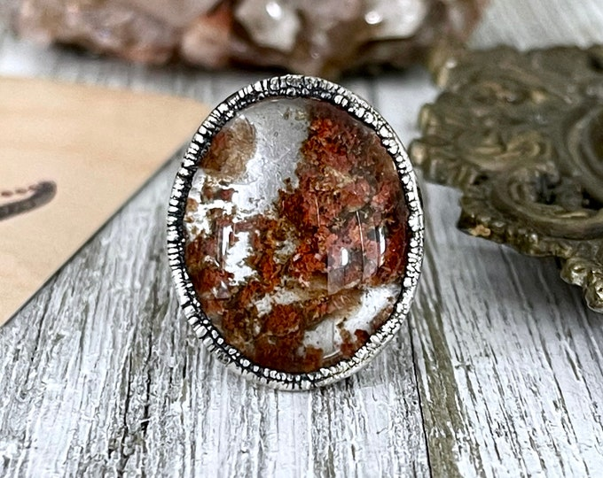 Size 9.75 / Garden Quartz Ring Lodolite Crystal Ring /  Included Quartz Crystal Jewelry Bohemian Statement Jewelry