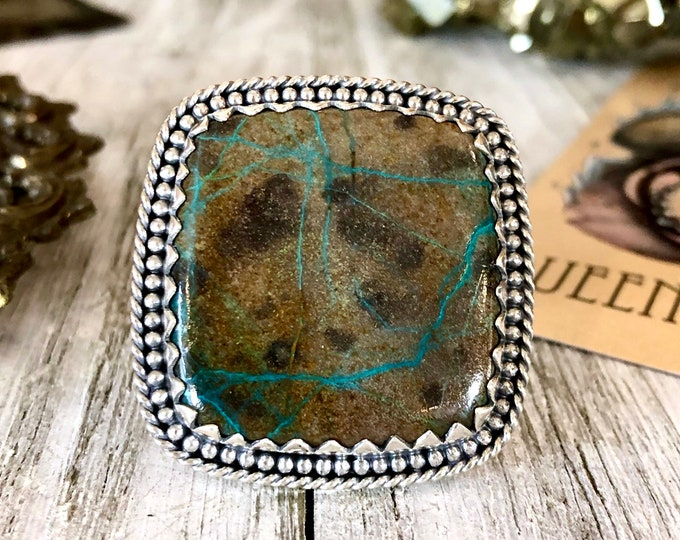 Size 10 Arizona Azurite Statement Ring Set in Sterling Silver  / Curated by FOXLARK Collection