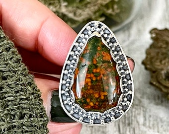 Size 10 Bloodstone Statement Ring Set in Sterling Silver / Curated by FOXLARK Collection