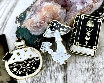 Witchy Pin Set  - Set Of 3 Witchy Enamel Pins- Mushroom Pin, Potion Bottle Pin, Witchy Book Pin