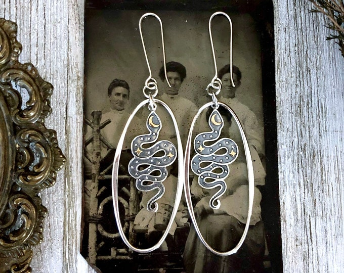 Sterling Silver Long Dangly Snake Earrings with Star and  Moon with Silver Hoops