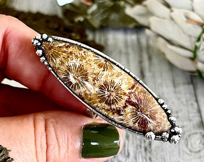 Size 7.5 Large Fossilized Coral Statement Ring in Fine Silver / Foxlark Collection - One of a Kind