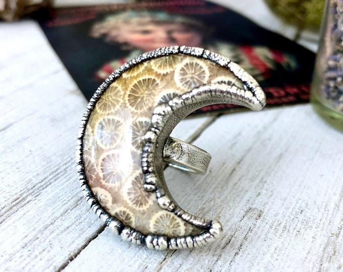 Fossilized Coral Size 6.25 Crescent Moon Statement Ring in Silver