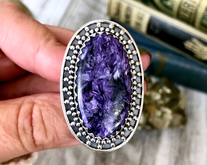 Size 6 Charoite Statement Ring Set in Sterling Silver / Curated by FOXLARK Collection
