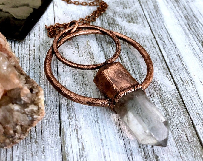 Clear Quartz Crystal Necklace Pendant Copper