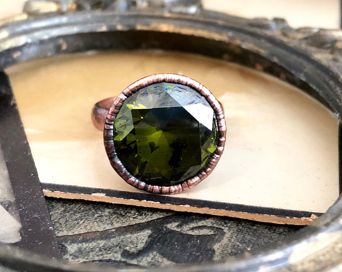 Green Cubic Zirconia Copper Ring Size 8.5 / Copper Electroformed Ring