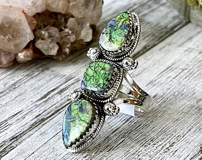 Triple Stone Sterling Opal Ring in Solid Sterling Silver- Designed by FOXLARK Collection Size 6 7 8 9 10