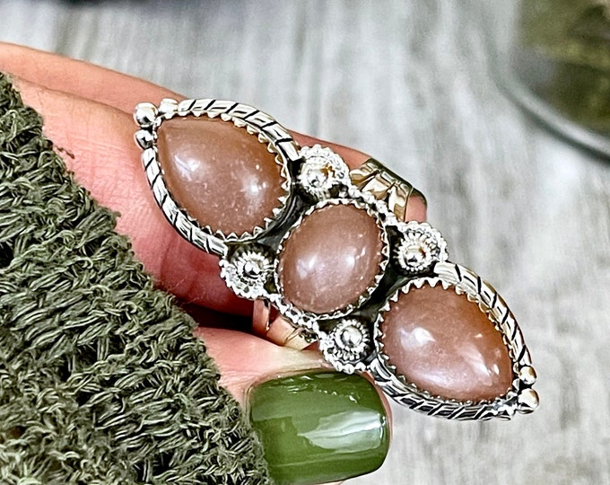 Three Stone Peach Moonstone Ring in Solid Sterling Silver- Designed by FOXLARK Collection Size 6 7 8 9 10