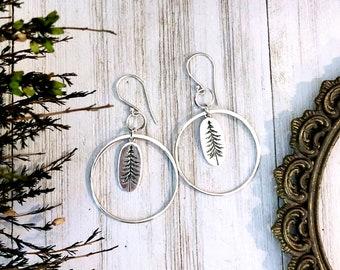 Long Geometric Pine Tree Earrings in Solid Sterling Silver & Sterling Silver Earwires