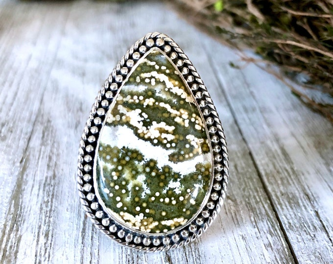 Size 10 Ocean Jasper Statement Ring Set in Sterling Silver  / Curated by FOXLARK Collection