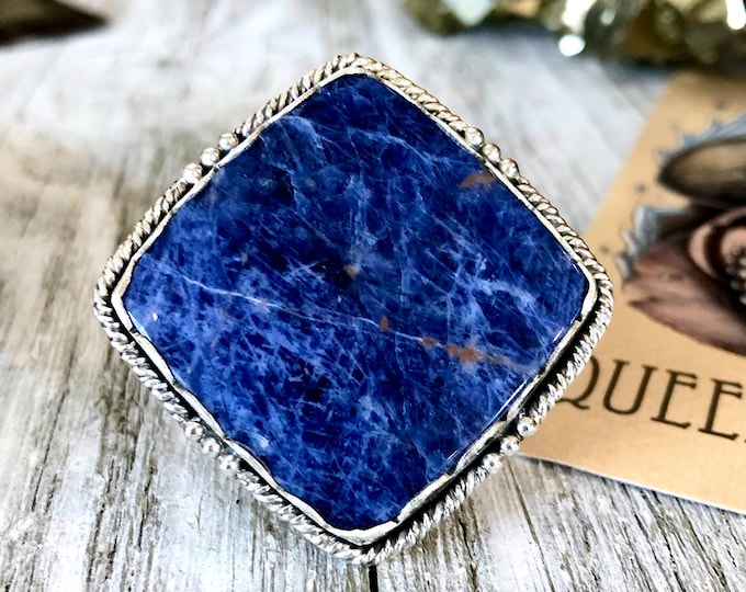 Size 10 Sodalite Statement Ring Set in Sterling Silver / Curated by FOXLARK Collection