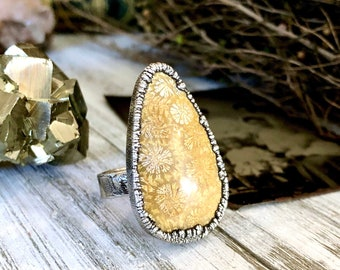 Size 9.5 Fossilized Coral Silver Statement Ring / / Foxlark Collection - One of a Kind