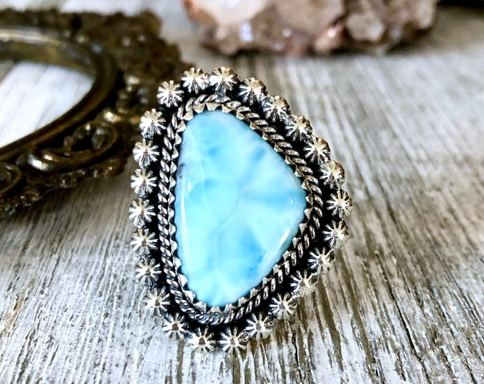 Size 10 Larimar Statement Ring Set in Sterling Silver / Curated by FOXLARK Collection