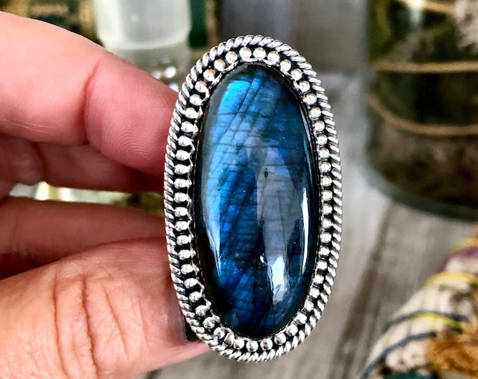 Size 6 Labradorite Statement Ring Set in Sterling Silver  / Curated by FOXLARK Collection