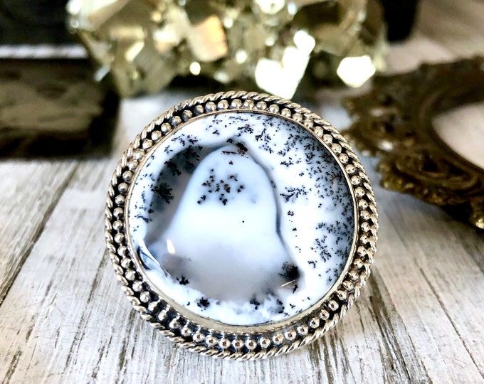 Size 6 Dendritic Opal Statement Ring Set in Sterling Silver / Curated by FOXLARK Collection