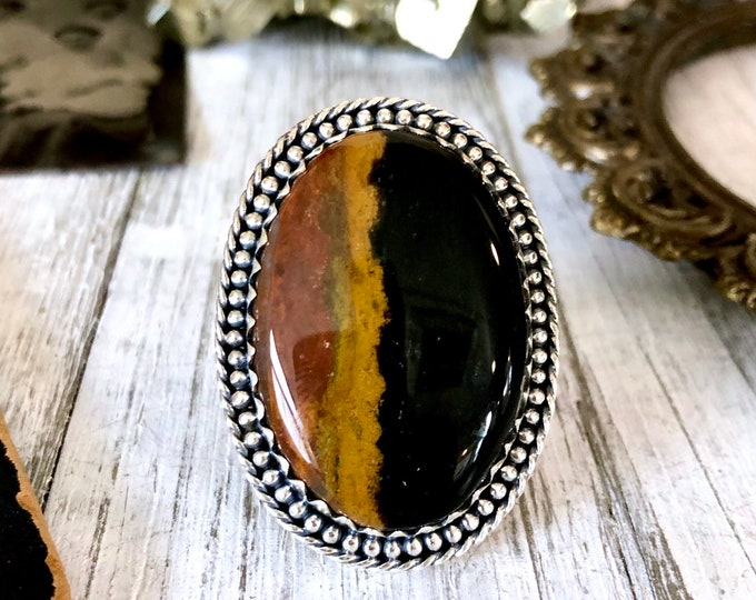 Size 7  Bloodstone Statement Ring Set in Sterling Silver / Curated by FOXLARK Collection