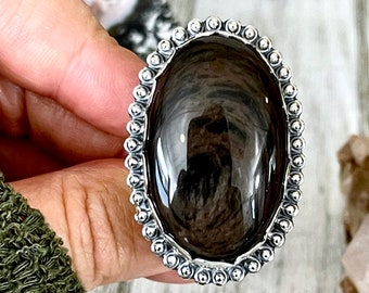 Size 7 Mahogany Sheen Obsidian Statement Ring Set in Sterling Silver  / Curated by FOXLARK Collection