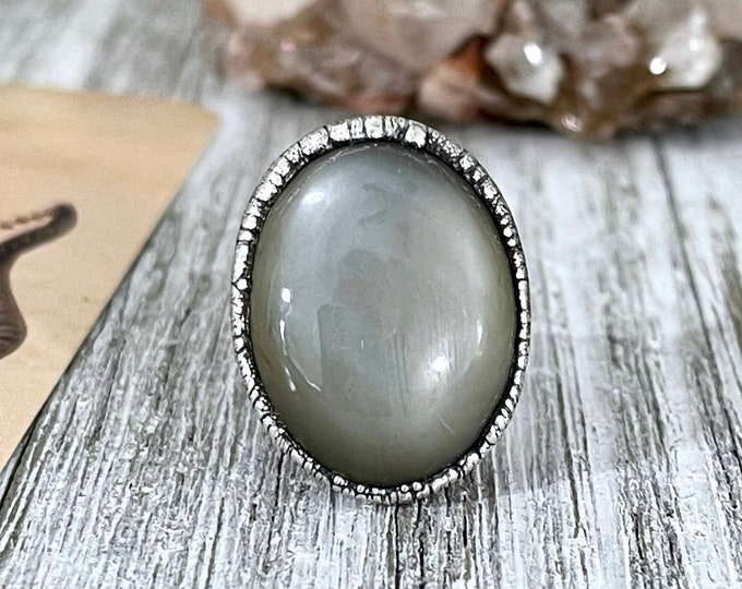 Size 7 Grey Moonstone Statement Ring in fine Silver / Foxlark Collection - One of a Kind