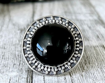 Size 6 Black Onyx Statement Ring Set in Sterling Silver / Curated by FOXLARK Collection
