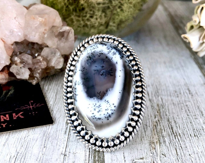 Size 5 Dendritic Opal Statement Ring Set in Sterling Silver / Curated by FOXLARK Collection