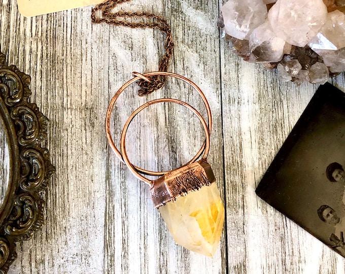 Natural Hematoid Quartz Crystal Necklace Pendant / Big Statement Necklace