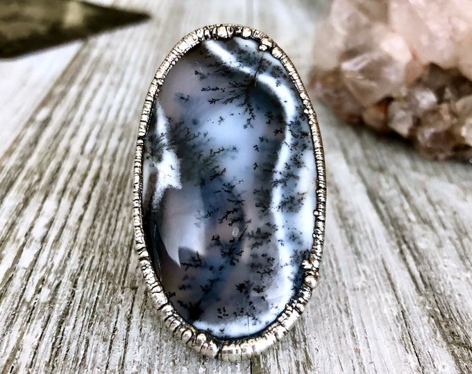 Size 10 Big Moss Opal Ring Statement Ring in Fine Silver