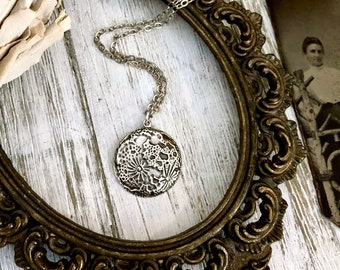 Tiny Taliman Collection - Sterling Silver Full Moon Necklace Pendant 22x20mm / Curated  Collection