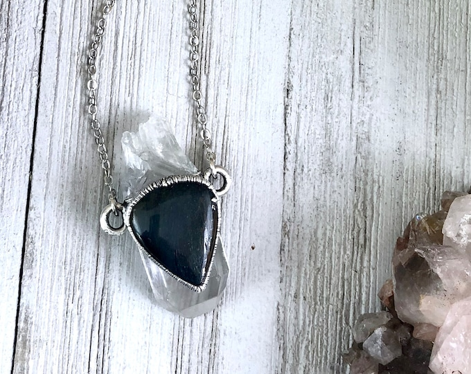 Handcrafted Blue Tiger Eye & Raw Clear Quartz Crystal Statement Necklace in Silver