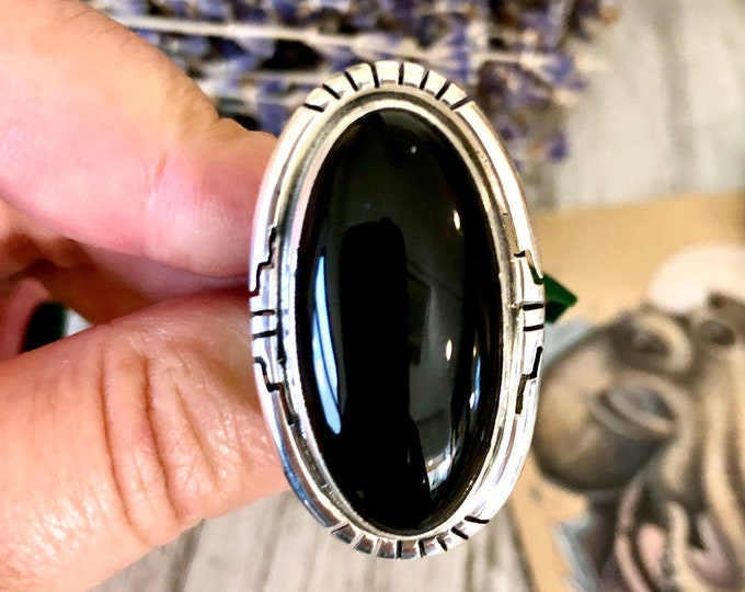 Size 7.5 Black Onyx Statement Ring Set in Sterling Silver / Curated by FOXLARK Collection