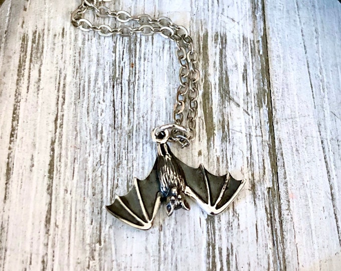Tiny Talisman Collection - Sterling Silver Tiny Bat Necklace Pendant 12x20mm  / Curated  Collection