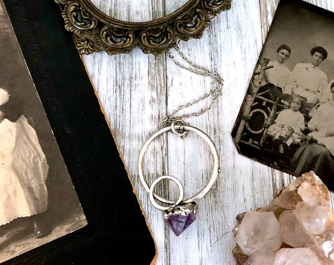 Raw Amethyst Necklace in Fine Silver  / Big Crystal Necklace Pendant
