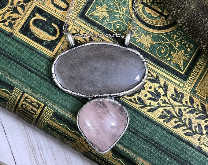 Handcrafted Rose Quartz & Silver Sheen Obsidian Silver Statement Necklace