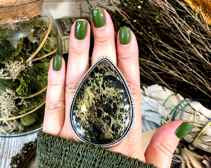 Size 10.5 Extra Large Apache Gold Statement Ring Set in Sterling Silver  / Curated by FOXLARK Collection