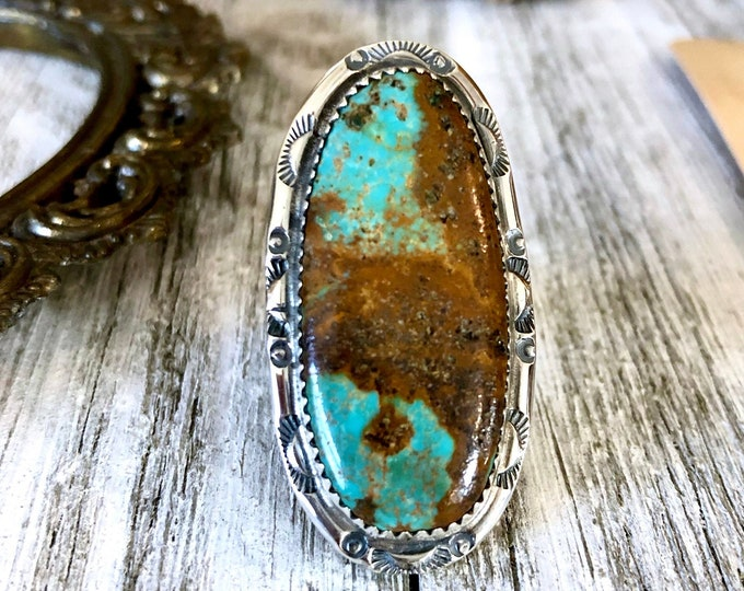 Size 9 Kingman Turquoise Statement Ring Set in Thick Sterling Silver / Curated by FOXLARK Collection