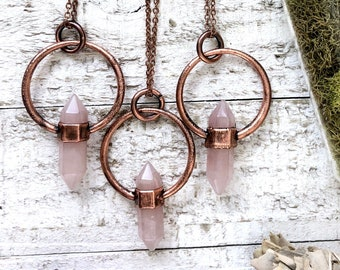 Rose Quartz Necklace Natural Crystal Jewelry