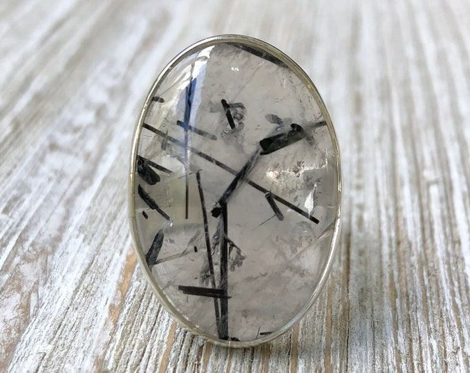 Size 7 Black Tourmaline Quartz Statement Ring Set in Sterling Silver / Curated by FOXLARK collection / Natural Stone Ring