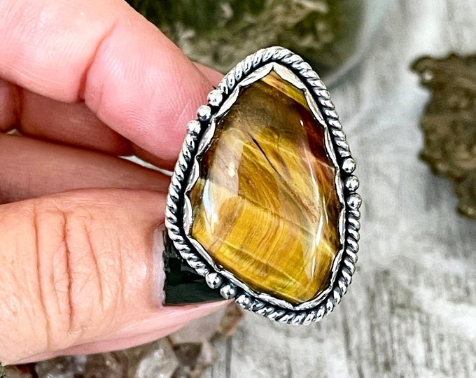 Size 8 Tiger Eye Statement Ring Set in Sterling Silver  / Curated by FOXLARK Collection
