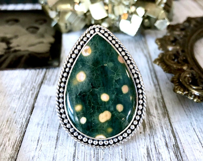 Size 8 Ocean Jasper Statement Ring Set in Sterling Silver  / Curated by FOXLARK Collection