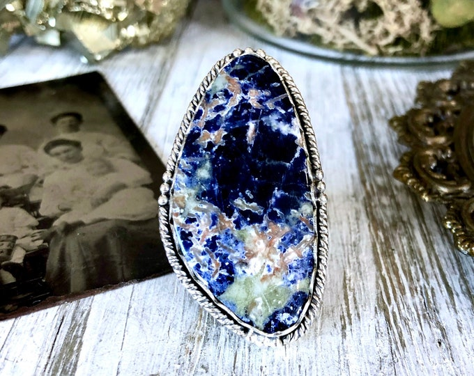 Size 7 Sodalite Statement Ring Set in Sterling Silver / Curated by FOXLARK Collection