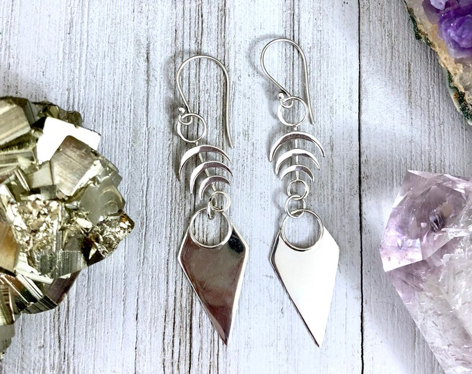 Sterling Silver Long Dangly Geometric Earrings